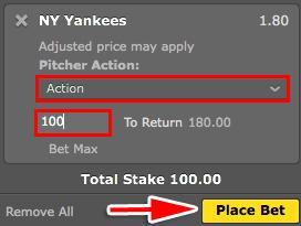 bet365 野球 Pitchers action 意味
