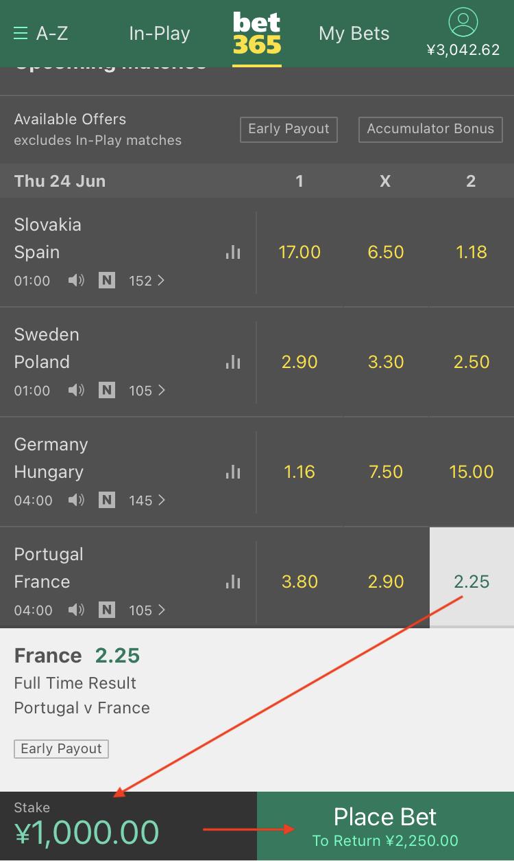 bet365サッカーの賭け方