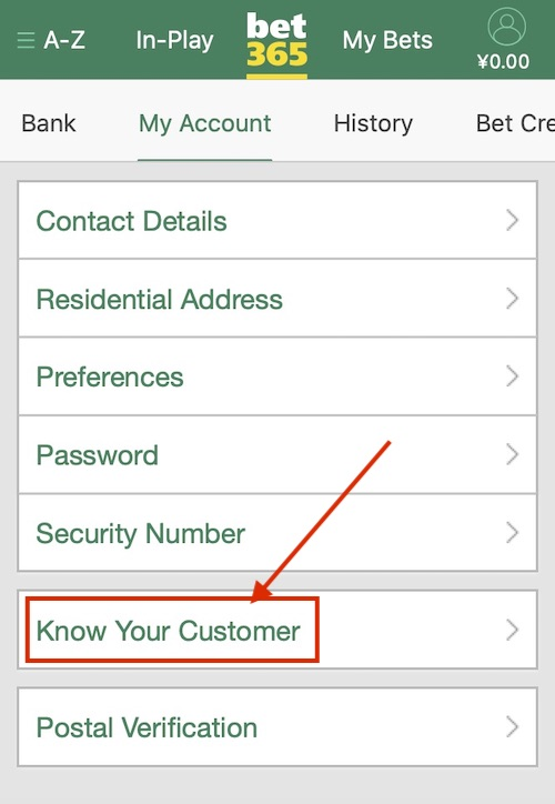 bet365の本人確認Knowyourcustomer
