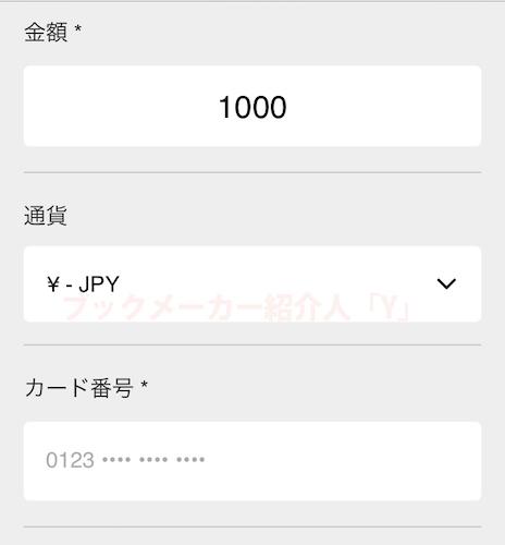 10betjapanの入金画面と通貨とカード番号