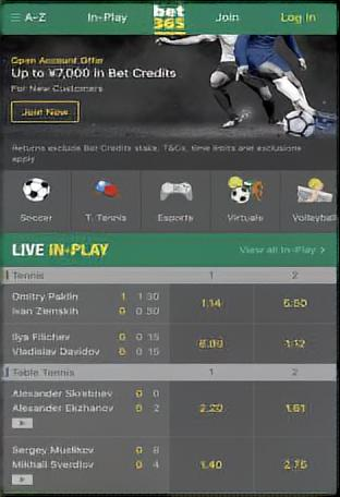 bet365のスマホトップページ